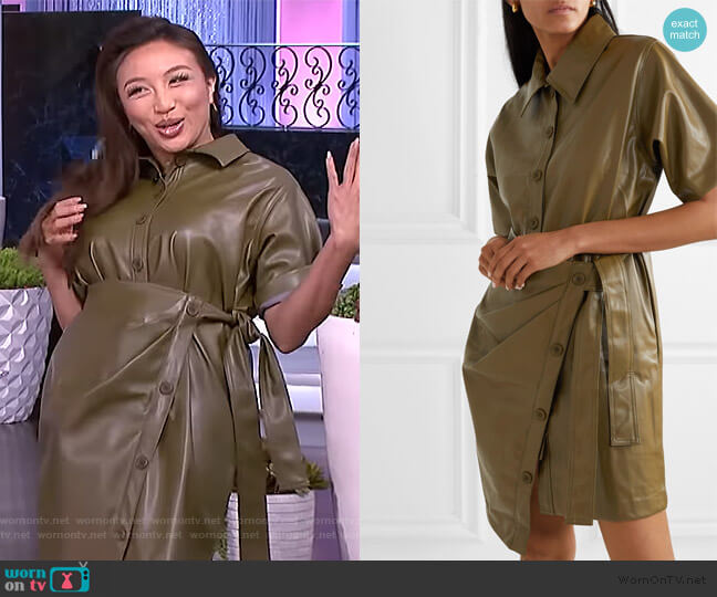 Zoeyy Faux Leather Wrap Mini Dress by Frankie Shop worn by Jeannie Mai  on The Real