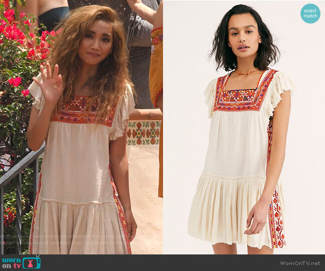 Day Glow Mini Dress by Free People worn by Madison Maxwell (Brenda Song) on Dollface