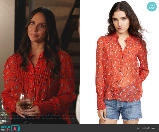 Flowers in December Print Sheer Blouse by Free People worn by Maddie Kendall (Jennifer Love Hewitt) on 9-1-1