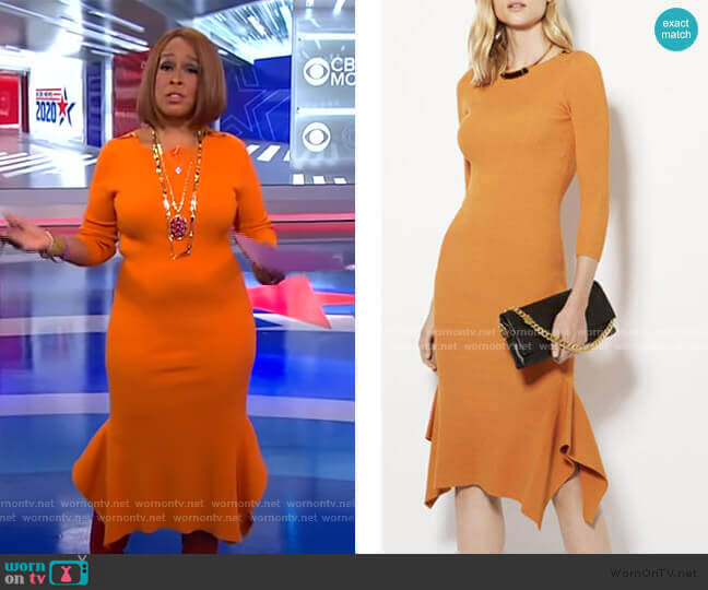 Frill Hem Knitted Midi Dress by Karen Millen worn by Gayle King  on CBS This Morning
