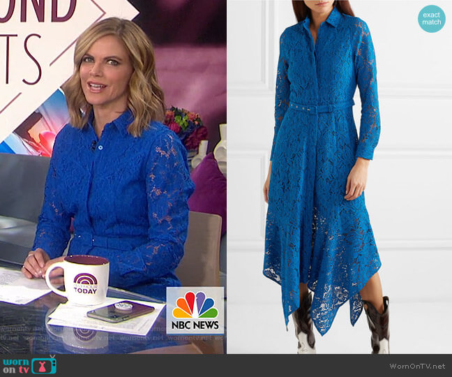 Belted Asymmetric Lace Dress by Ganni worn by Natalie Morales on Today Show