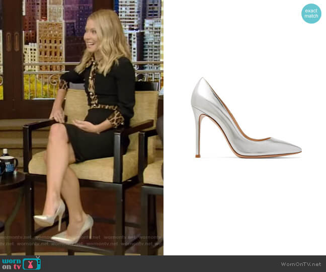 Metallic Leather Pumps by Gianvito Rossi worn by Kelly Ripa  on Live with Kelly & Ryan