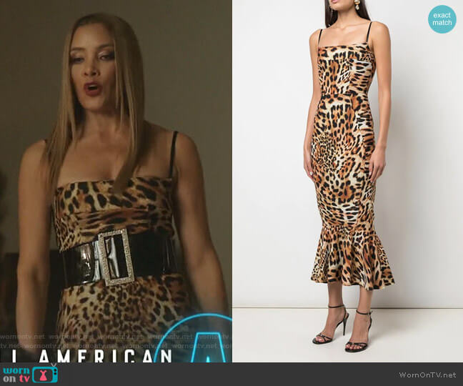 Leopard Print Midi Dress by Greta Constantine worn by Dominique Deveraux (Michael Michele) on Dynasty