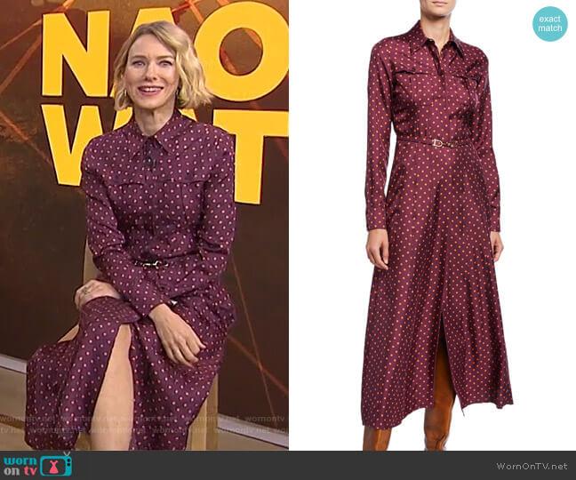 Polka Dot Silk Twill Shirtdress by Gabriela Hearst worn by Naomi Watts on Today Show
