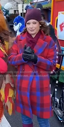 Ginger's red and blue plaid coat on Good Morning America