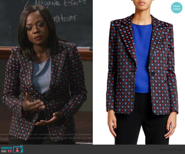 Geometric Jacquard Button-Front Jacket by Giogio Armani worn by Annalise Keating (Viola Davis) on HTGAWM