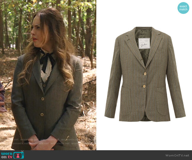 Andrea Pinstriped Blazer by Giuliva Heritage Collection worn by Fallon Carrington (Elizabeth Gillies) on Dynasty
