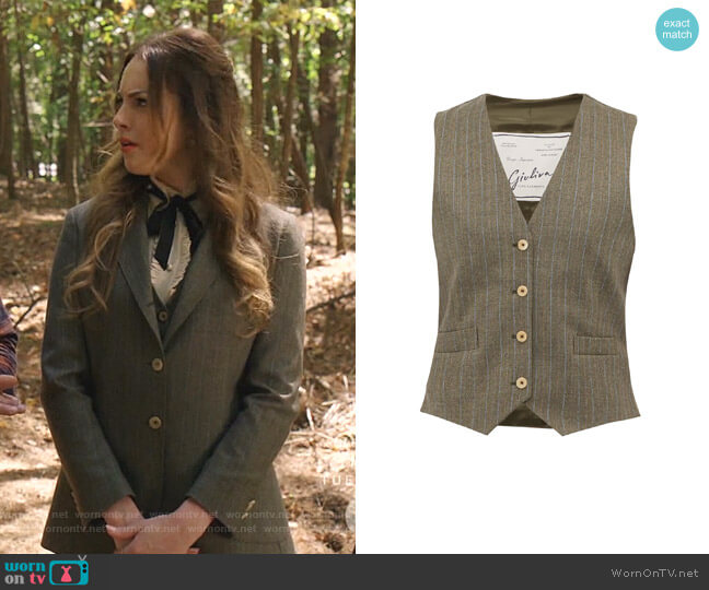 Andrea Waistcoat by Giuliva Heritage Collection worn by Fallon Carrington (Elizabeth Gillies) on Dynasty