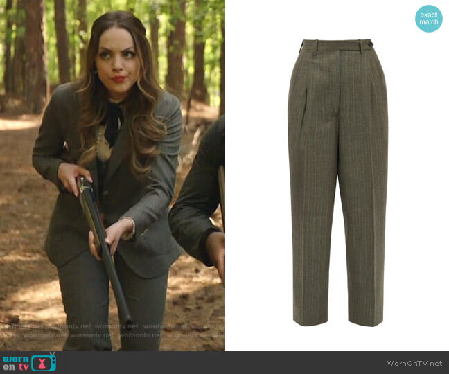 Cornelia Pinstriped Trousers by Giuliva Heritage Collection worn by Fallon Carrington (Elizabeth Gillies) on Dynasty