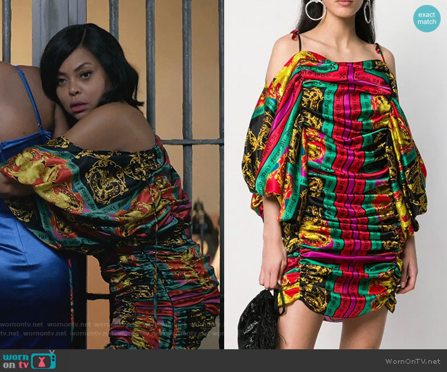 Patterned Gathered Dress by Giuseppe Di Morabito worn by Cookie Lyon (Taraji P. Henson) on Empire