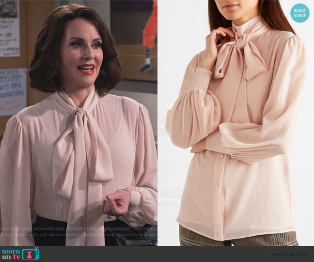 Pussy-bow silk-crepon blouse by Givenchy worn by Karen Walker (Megan Mullally) on Will & Grace
