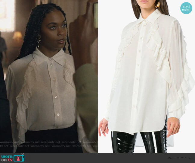 Ruffle Button Down Shirt by Givenchy worn by Anissa Pierce (Nafessa Williams) on Black Lightning