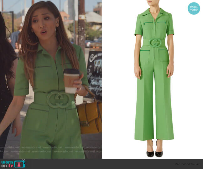 Belted Wide Leg Wool & Silk Cady Jumpsuit by Gucci worn by Madison Maxwell (Brenda Song) on Dollface