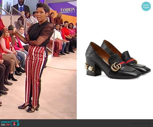 Black Pearl Hell 80 Leather Pumps by Gucci worn by Tamron Hall  on Tamron Hall Show