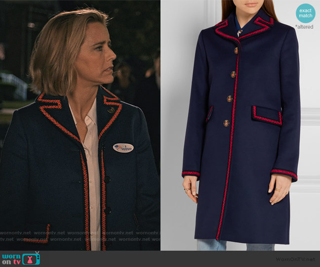 Embroidered Wool Coat by Gucci worn by Elizabeth McCord (Téa Leoni) on Madam Secretary