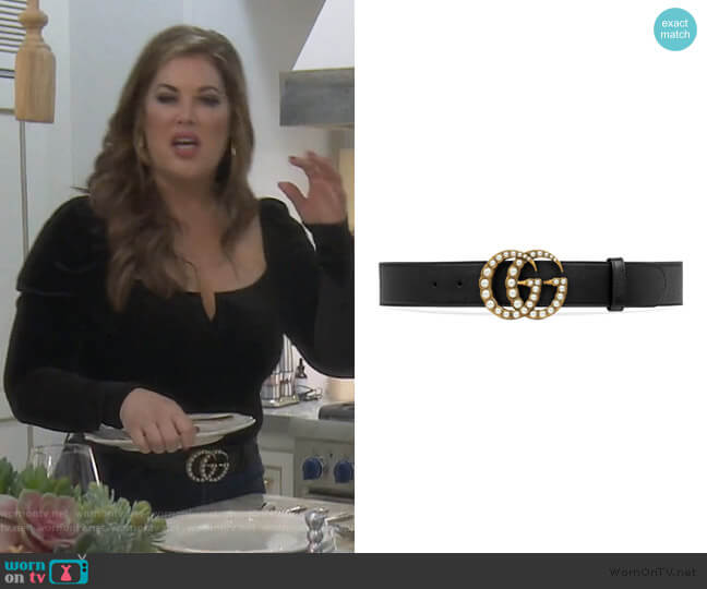 Imitation Pearl Double-G Leather Belt by Gucci worn by Emily Simpson  on The Real Housewives of Orange County