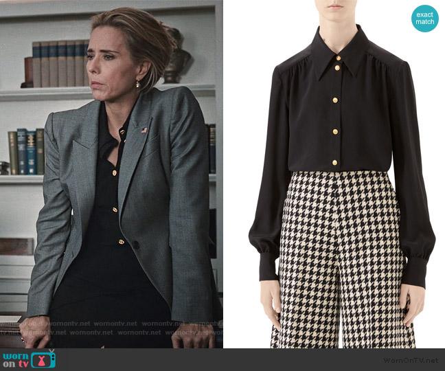 Silk Crepe de Chine Button-Front Blouse by Gucci worn by Elizabeth McCord (Téa Leoni) on Madam Secretary