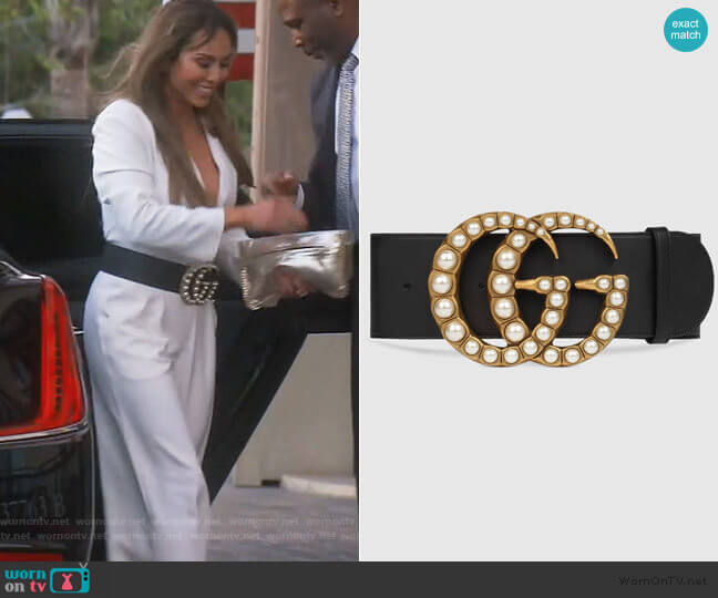 Wide leather belt with pearl Double G by Gucci worn by Kelly Dodd  on The Real Housewives of Orange County