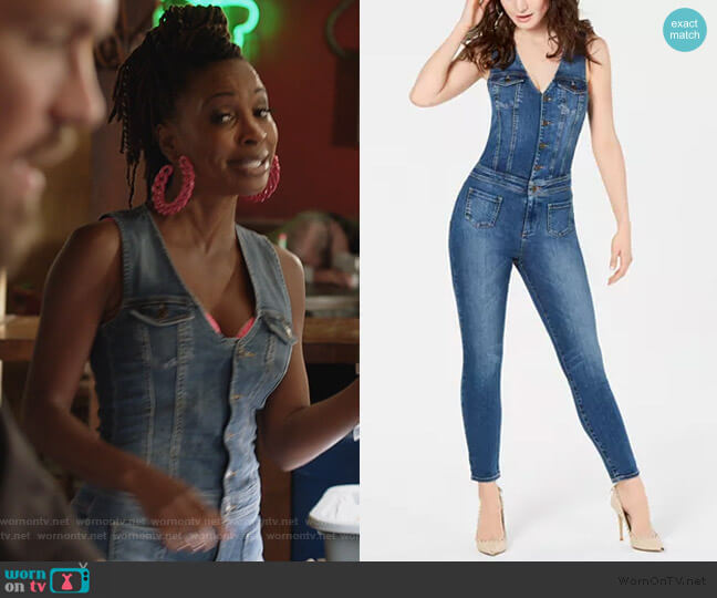 Nina Sleeveless Denim Jumpsuit by Guess worn by Veronica Fisher (Shanola Hampton) on Shameless