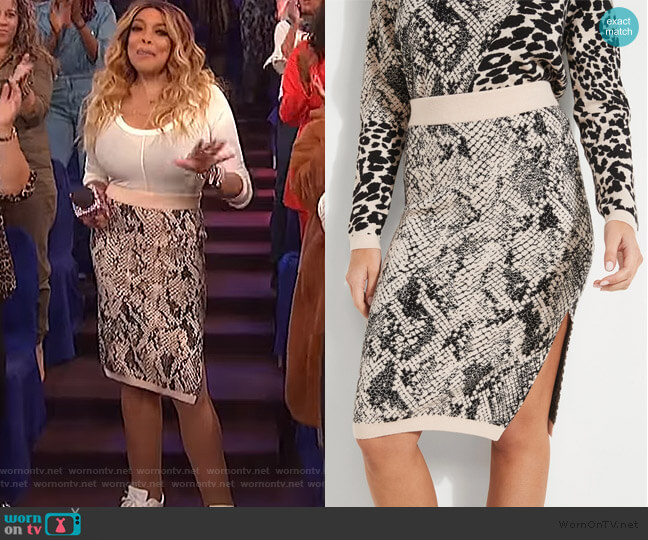 Tamelia Animal Print Midi Skirt by Guess worn by Wendy Williams  on The Wendy Williams Show