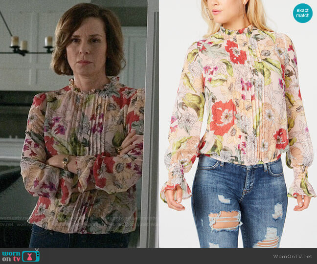 Guess Tyler Top worn by Paige Kessler (Embeth Davidtz) on The Morning Show