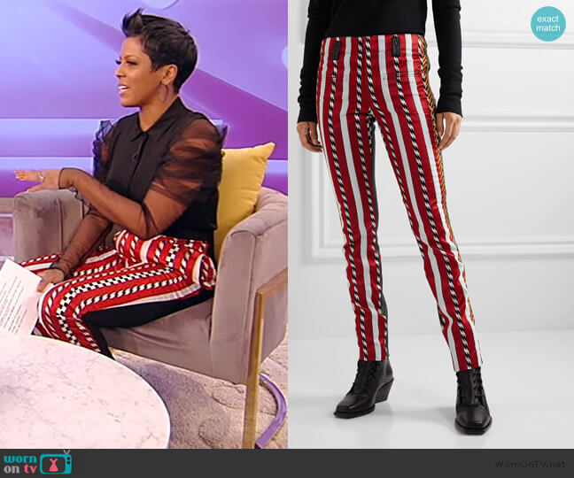 Paneled Embroidered Jacquard and Leather Skinny Pants by Haider Ackermann worn by Tamron Hall  on Tamron Hall Show