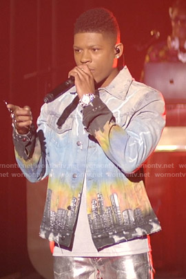 Hakeem's city print denim jacket on Empire