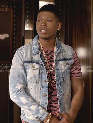Hakeem's pink tiger print tee and distressed denim jacket on Empire
