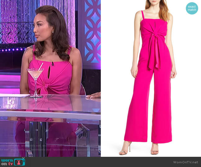 Tie Front Jumpsuit by Harlyn worn by Jeannie Mai  on The Real