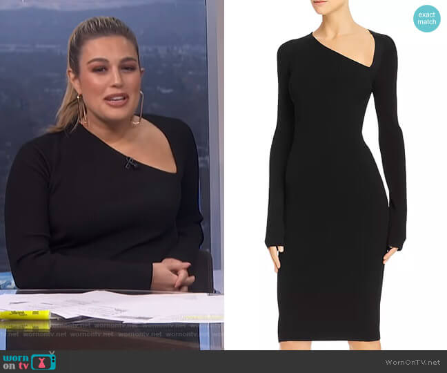 Asymmetric Ribbed Bodycon Dress by Helmut Lang worn by Carissa Loethen Culiner  on E! News