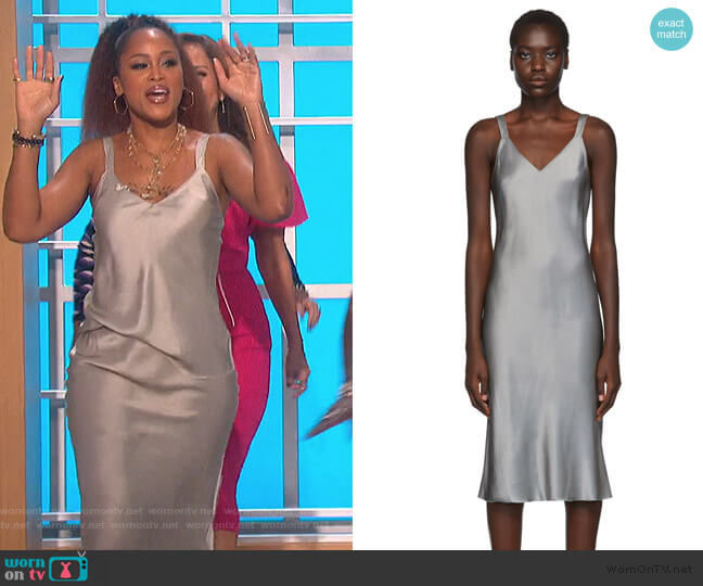 Grey Satin Double Strap Slip Dress by Helmut Lang worn by Eve  on The Talk