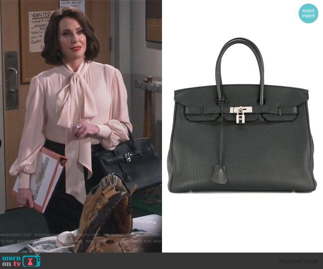 Birkin 35cm hand bag Togo by Hermes worn by Karen Walker (Megan Mullally) on Will & Grace