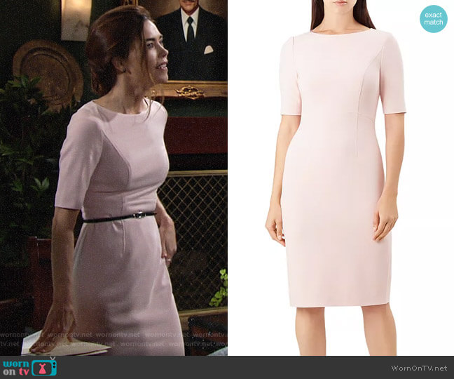 Hobbs London Annabeth Sheath Dress worn by Victoria Newman (Amelia Heinle) on The Young & the Restless