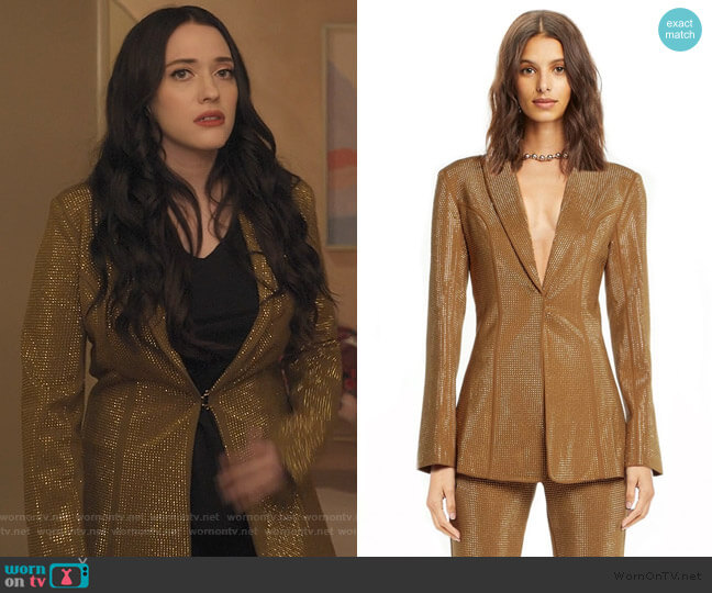 Gold Mariah Blazer by I Am Gia worn by Jules Wiley (Kat Dennings) on Dollface