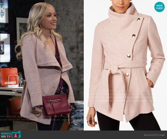 INC International Concepts Textured Wrap Coat worn by Lulu Spencer Falconeri (Emme Rylan) on General Hospital