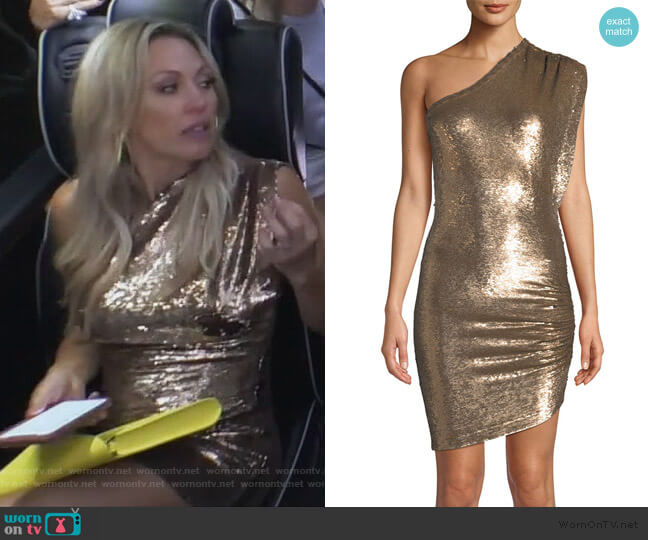 Exciter Sequin One-Shoulder Mini Dress by IRO worn by Braunwyn Windham-Burke  on The Real Housewives of Orange County