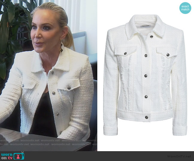 Paloma frayed cotton-tweed jacket by IRO worn by Shannon Beador  on The Real Housewives of Orange County