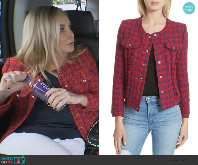 Quilombre Houndstooth Tweed Jacket by IRO worn by Shannon Beador  on The Real Housewives of Orange County