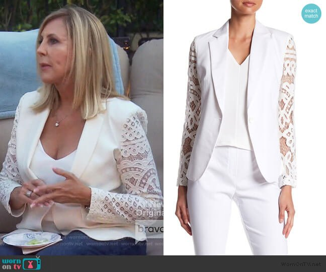 Lace Back Blazer by Insight worn by Vicki Gunvalson  on The Real Housewives of Orange County