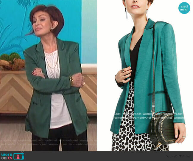 Satin Open-Front Blazer by INC International Concepts worn by Sharon Osbourne  on The Talk