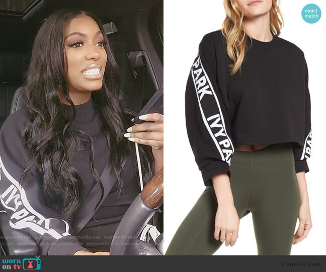 Logo Tape Crop Sweatshirt by Ivy Park worn by Porsha Williams  on The Real Housewives of Atlanta