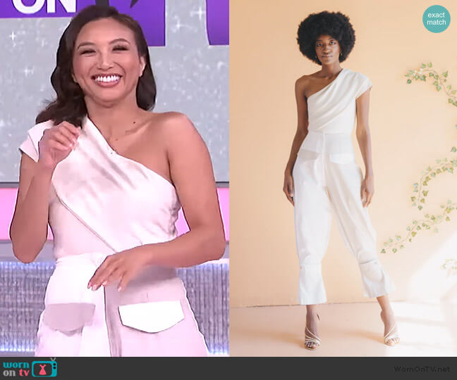 Off the Shoulder Bodysuit and pants by Izayla worn by Jeannie Mai  on The Real