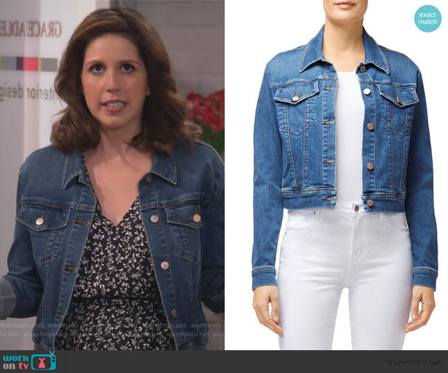 Harlow Shrunken Denim Jacket by J Brand worn by Vanessa Bayer on Will and Grace