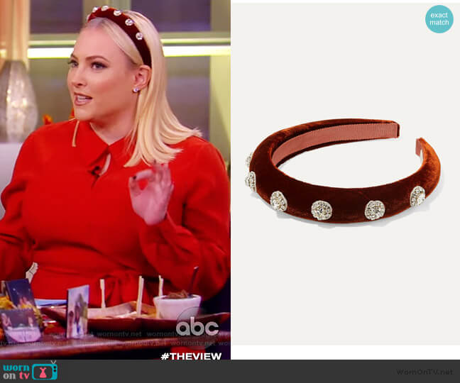 Olina crystal-embellished velvet headband by Jennifer Behr worn by Meghan McCain  on The View