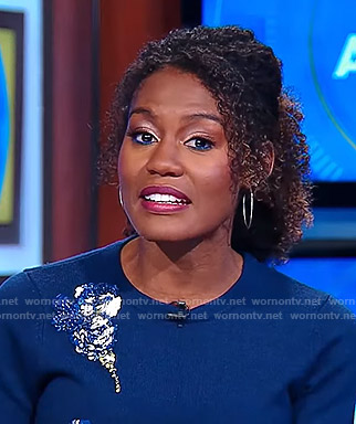Janai's blue bead embellished sweater on Good Morning America