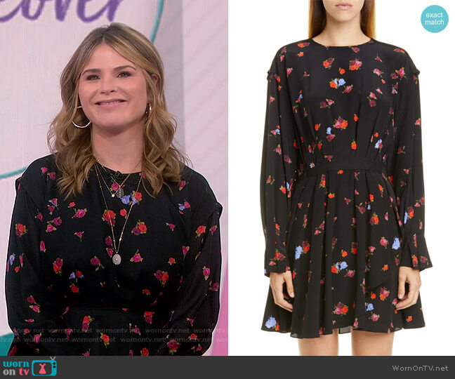 Floral Long Sleeve Silk Dress by Jason Wu worn by Jenna Bush Hager  on Today