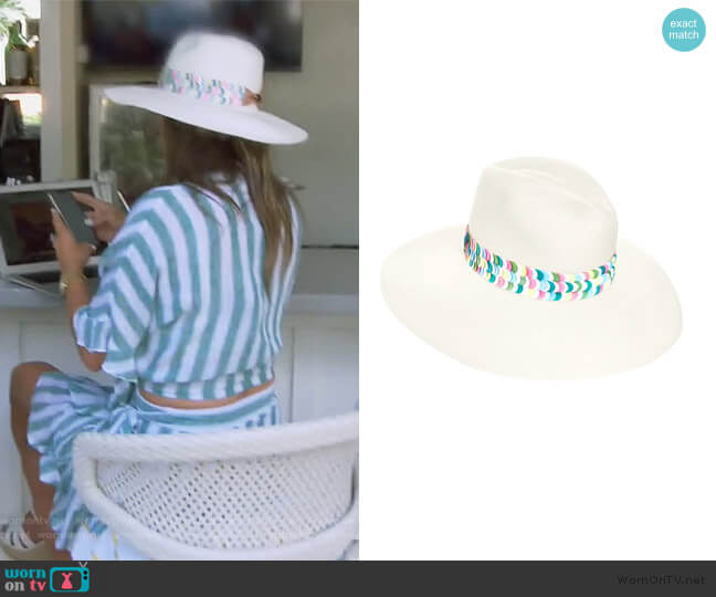The Aleria Multi Colored Panama Hat by Jaunt worn by Kelly Dodd  on The Real Housewives of Orange County