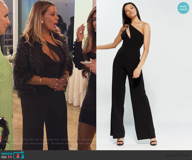 Black Portner Cutout Jumpsuit by Jay Godfrey worn by Dolores Catania  on The Real Housewives of New Jersey