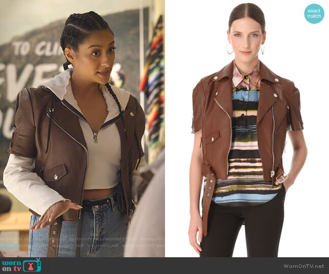 Short Sleeve Leather Jacket by Jean Paul Gaultier worn by Stella Cole (Shay Mitchell) on Dollface