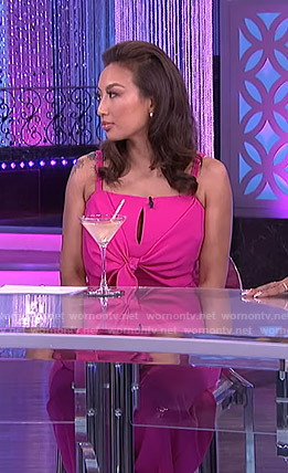Jeannie's pink tie front jumpsuit on The Real